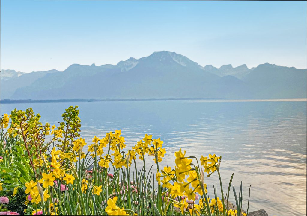 View from Montreux Over Lake Geneva Switzerland