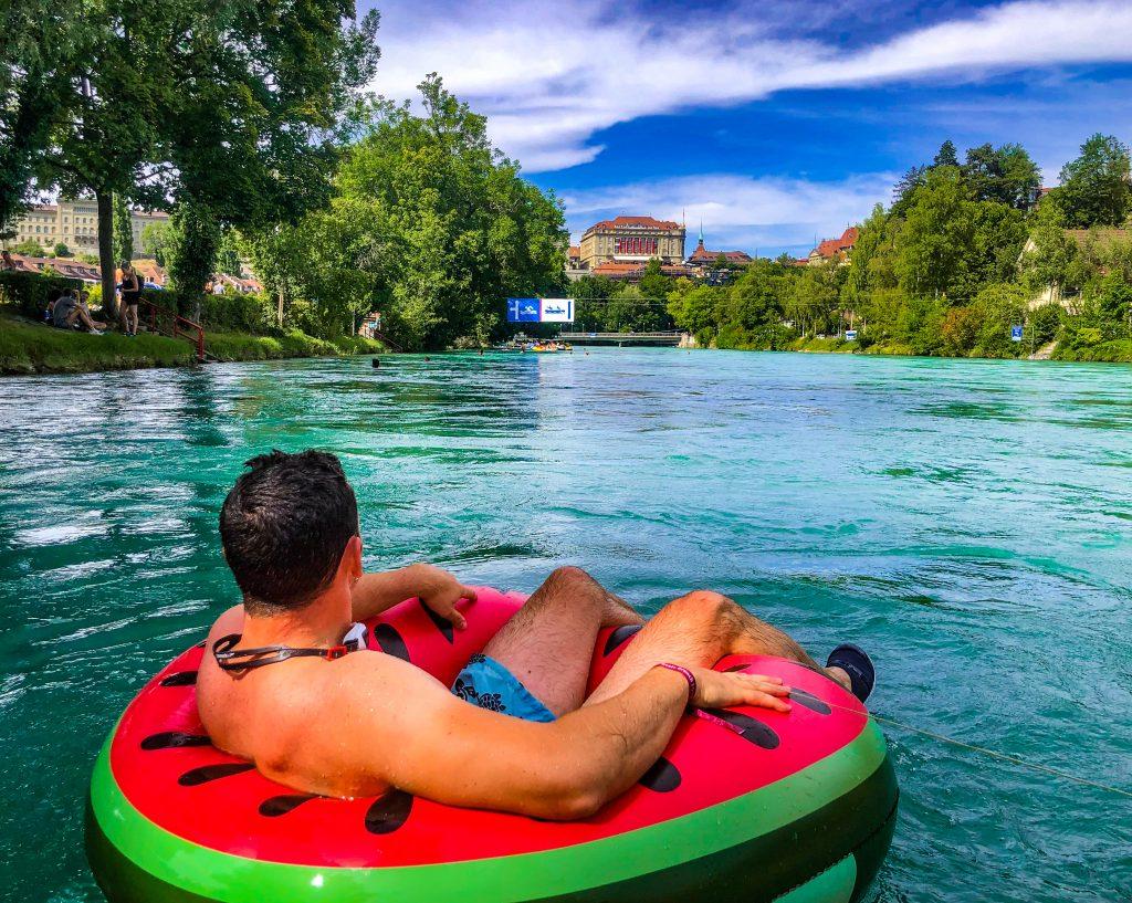 Swimming in the Aare River Bern Switzerland
