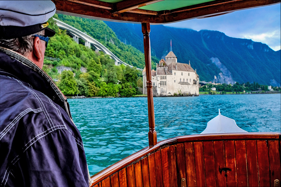 Chateau de Chillon Lake Geneva Switzerland by boat