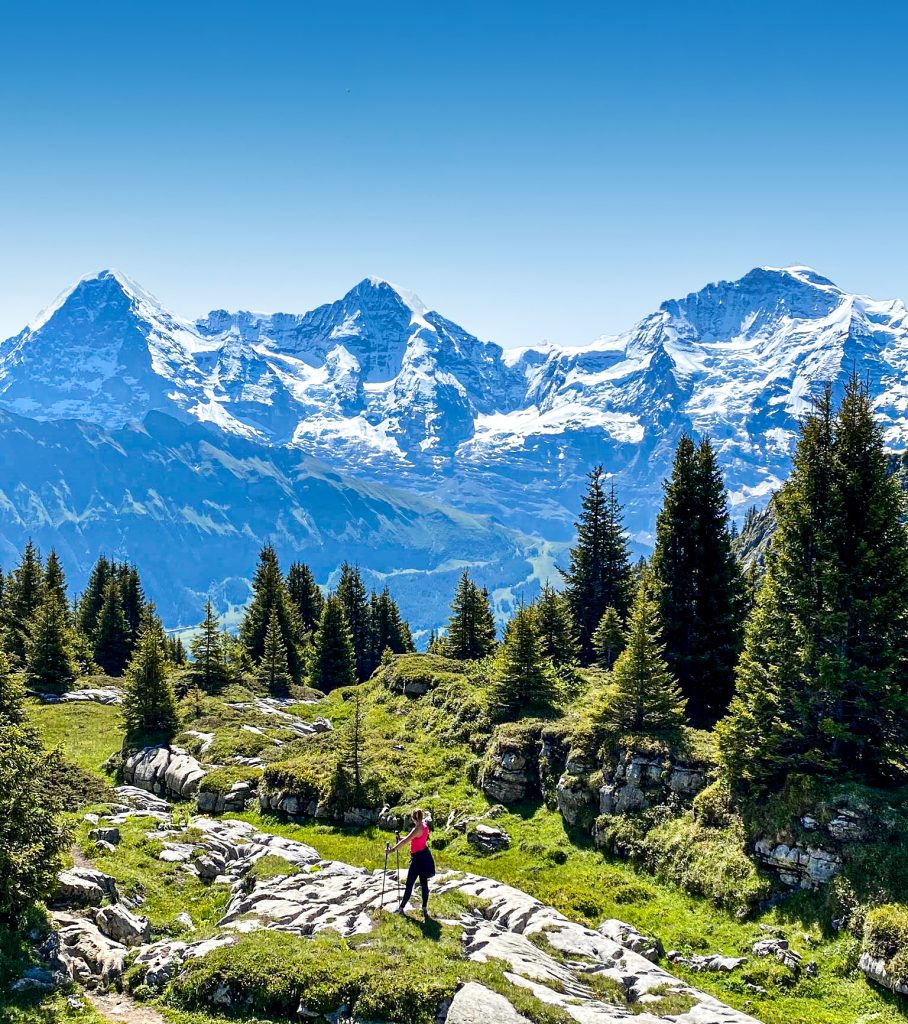 View over Eiger Monch and Jungfrau from Isenfluh, Berner Oberland, Switzerland