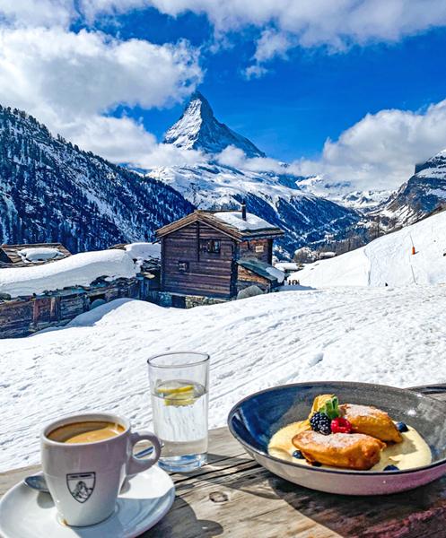 Lunch overlooking the Matterhorn in Zermatt Switzerland