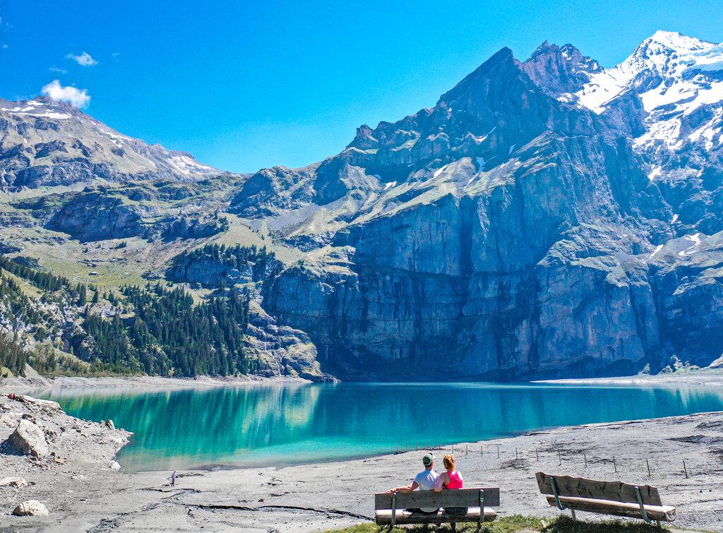 Oeschinensee in the Berner Oberland, Switzerland